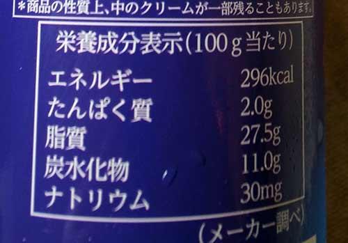 業務スーパースプレーホイップクリームの栄養成分表示