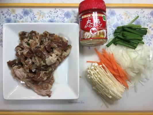 業務スーパーのプルコギを使った韓国風スープの材料