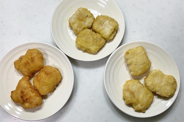 異なる調理方法で温めた3種類のチキンナゲット