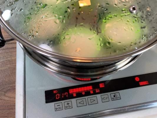 蒸し器で17分蒸す