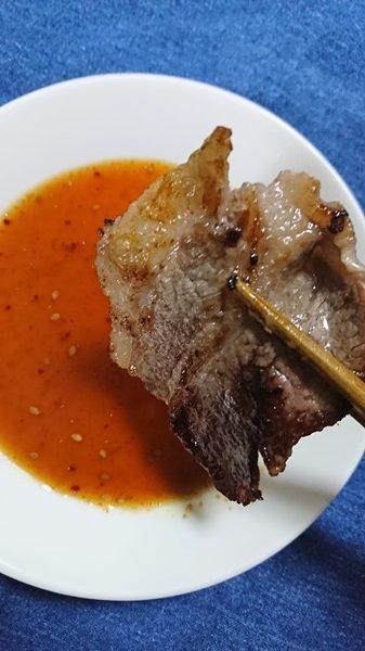 415円の焼肉のたれにつけた牛肉