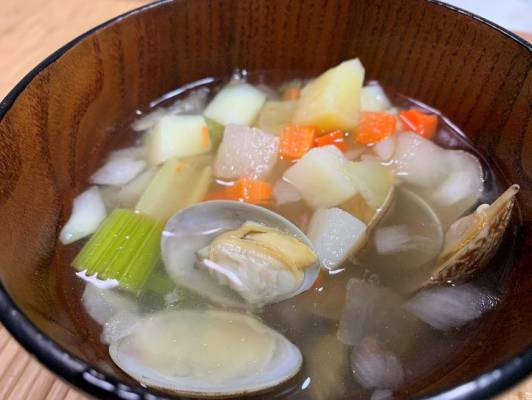 業務スーパーの野菜ミックスを使ったあさりスープ