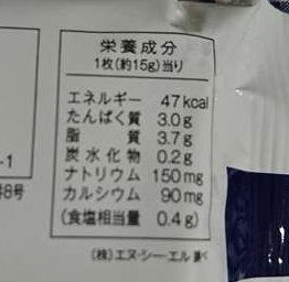 業務スーパーのスライスチーズパッケージ裏にある栄養成分表示