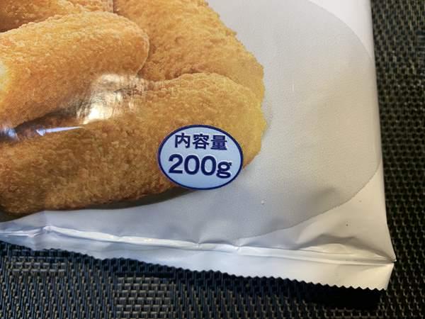 業務スーパーのチーズフィンガーパッケージにある内容量表示