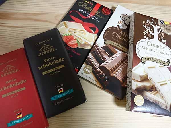 業務スーパーのチョコレート数種類