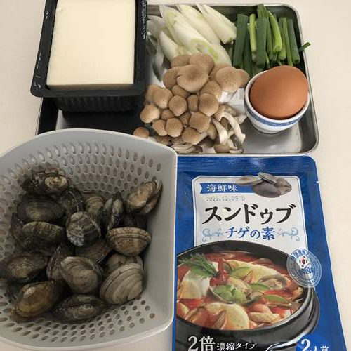海鮮スンドゥブチゲの材料