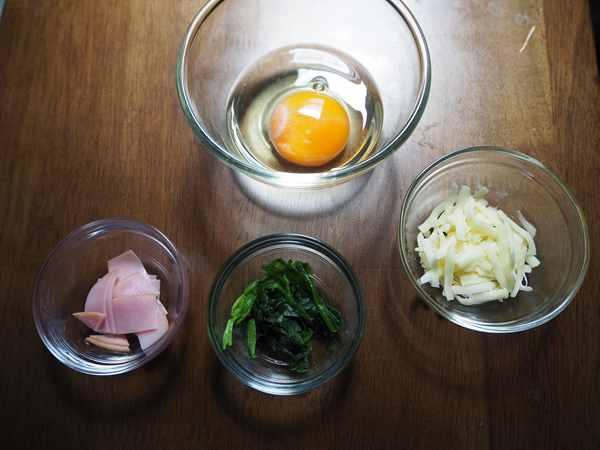 卵・チーズ・ほうれん草・ハム