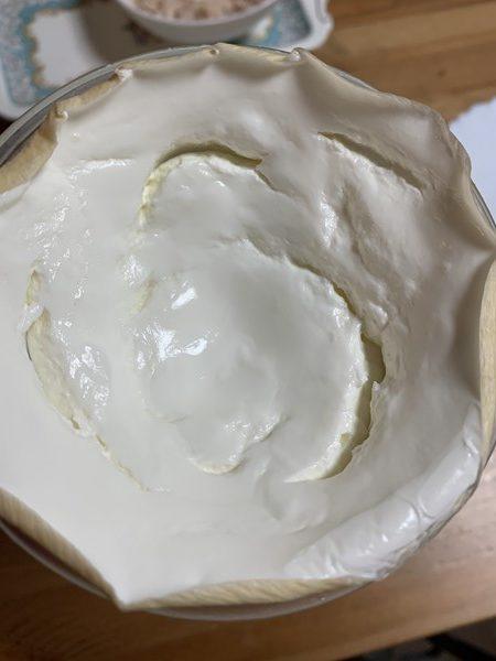 完成したヨーグルトクリーム