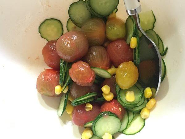 マリネ液を和えた野菜