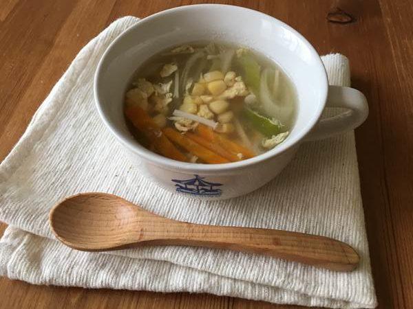 完成した業務スーパーのスイートコーン入り中華スープ