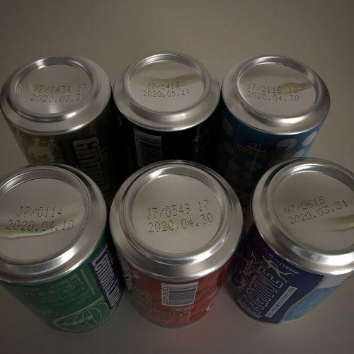 業務スーパー神戸居留地350mlのドリンク缶底にある賞味期限表示