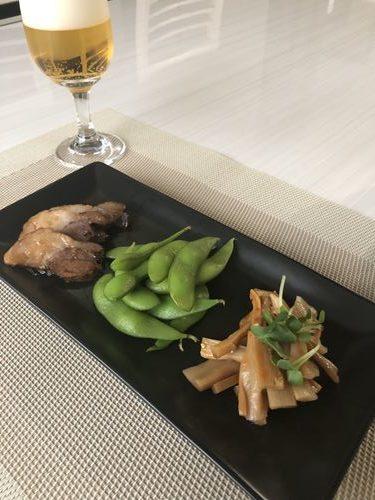 業務スーパーのメンマ・枝豆・煮豚のおつまみ