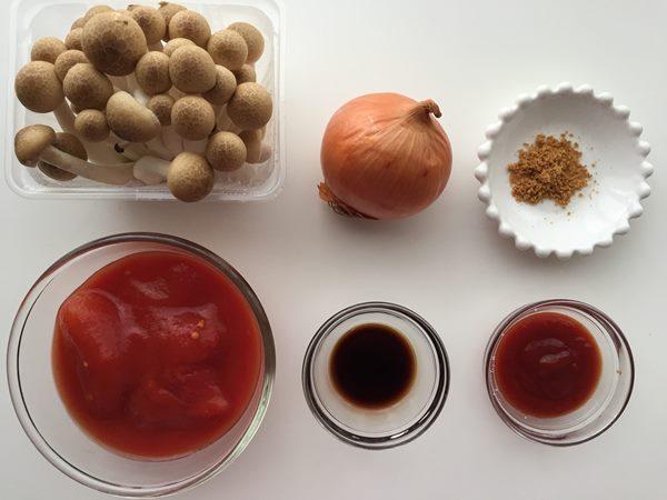 きのこたっぷりトマトソースの材料