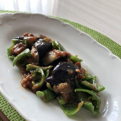 茄子の肉味噌和えの完成品