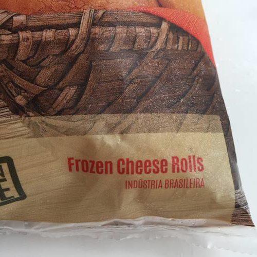 業務スーパーのポンデケージョパッケージにある冷凍チーズパンの英語表記
