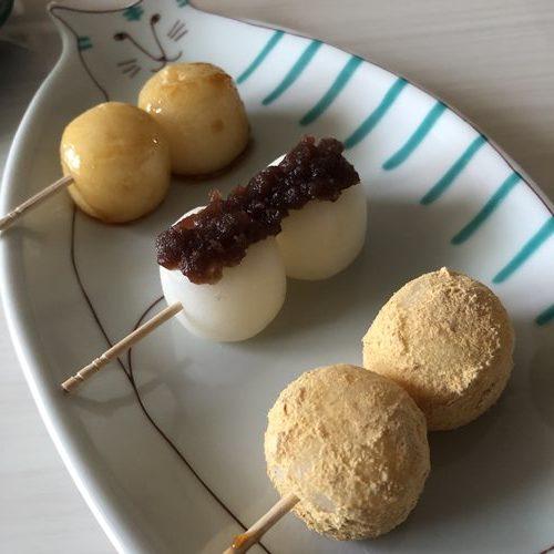 串団子風にアレンジした3種の白玉団子