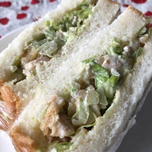 レタスと業務スーパーの竜田揚げを使ったチョップドサンドイッチ