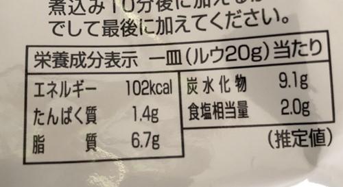 業務スーパーのカレールーパッケージ裏にある栄養成分表示