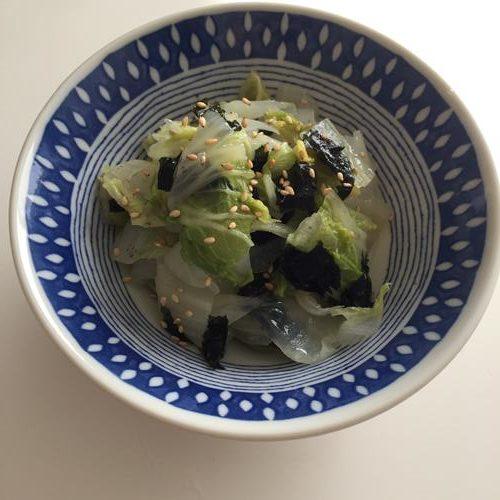 出来上がった業務スーパーの韓国のり入り白菜ナムル