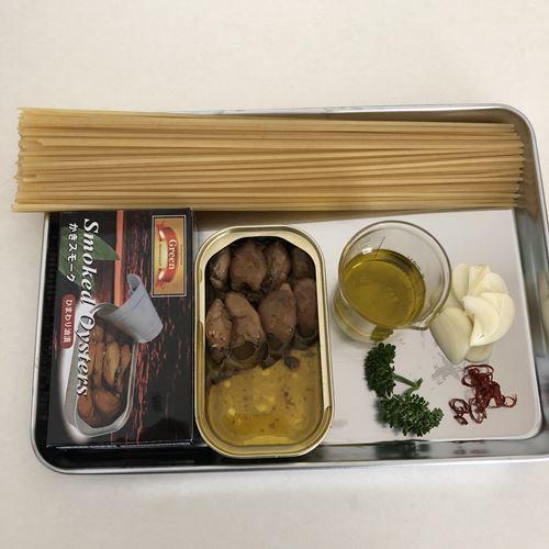 牡蠣スモーク入りペペロンチーノの材料