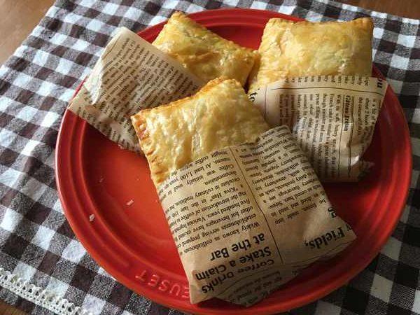 焼き上がった業務スーパーポテトマカロニサラダ入りパイ