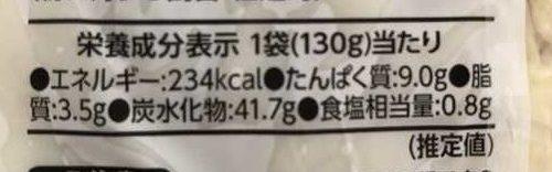 業務スーパーの釜揚げパスタパッケージにある栄養成分表示