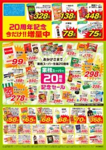 20周年記念セールチラシ関東圏