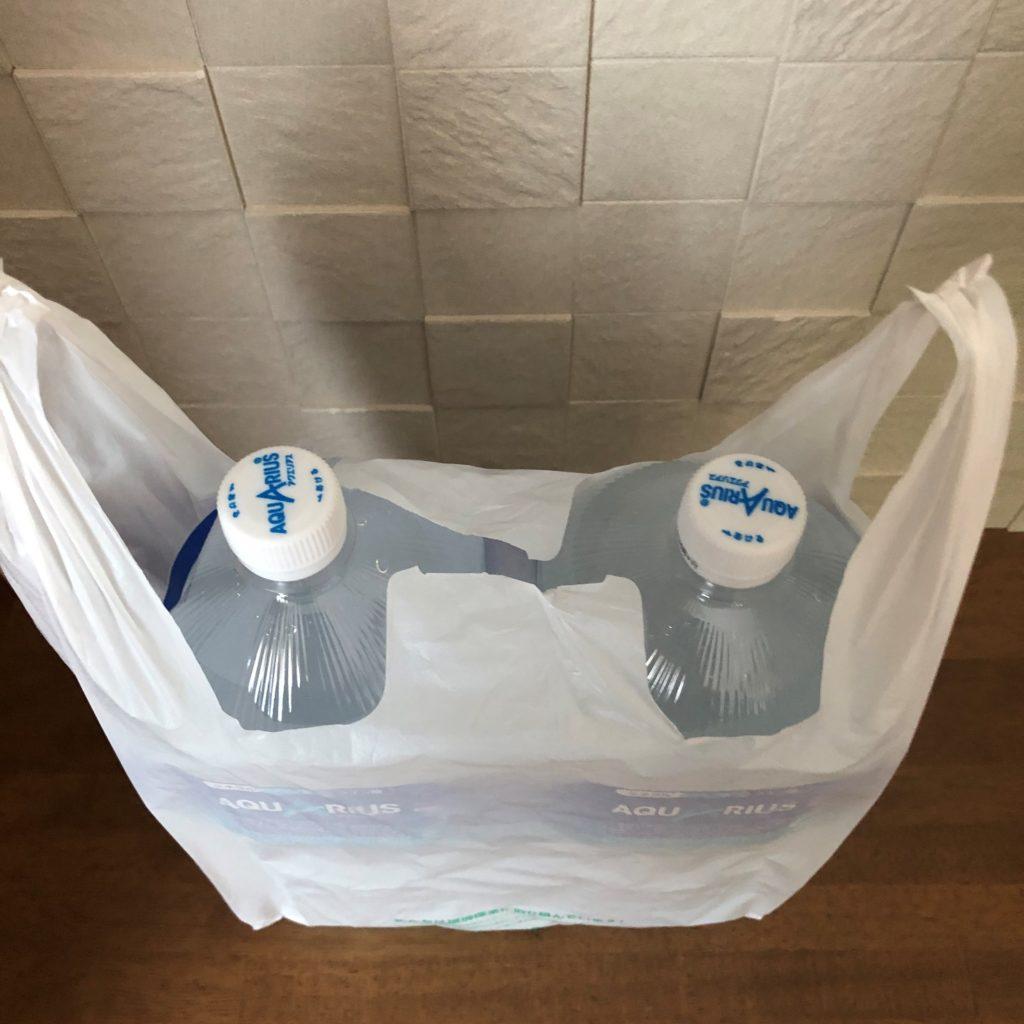 業務スーパーのショッピングバッグNo35に2リットルのペットボトルを2本入れた状態上から