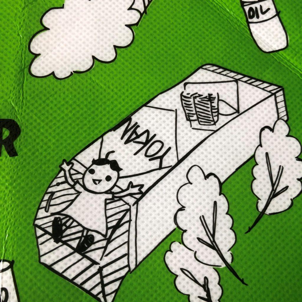 業務スーパーのエコバッグに書かれてる紙パック羊羹のイラスト