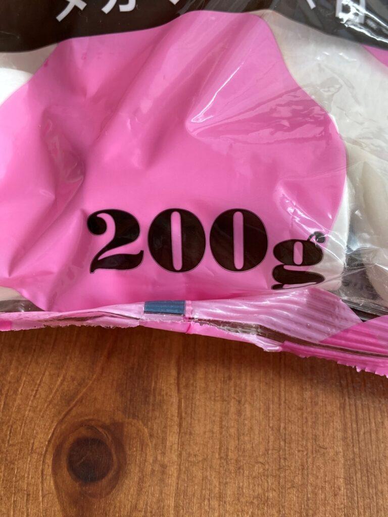 業務スーパーのメガマシュマロのパッケージに記載されている内容量