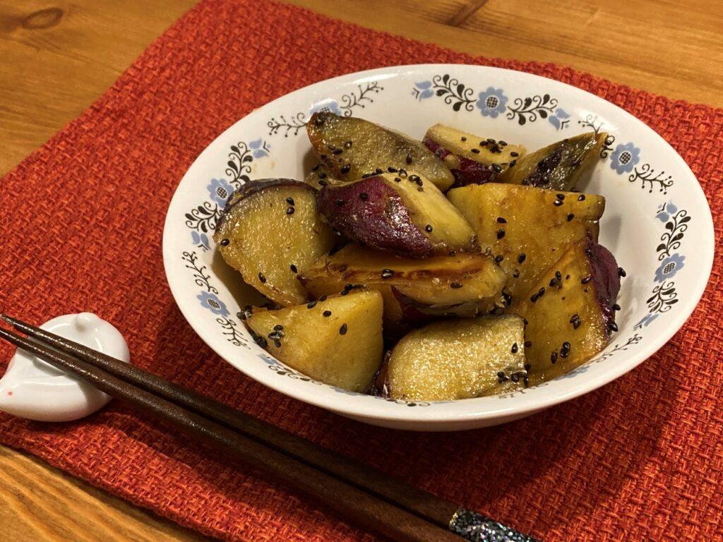 完成したメガマシュマロ味の大学芋