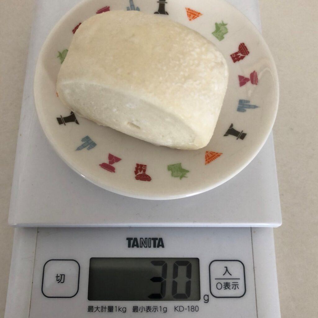 凍った業務スーパーの中華小麦パンの重さを計ったら30gだった