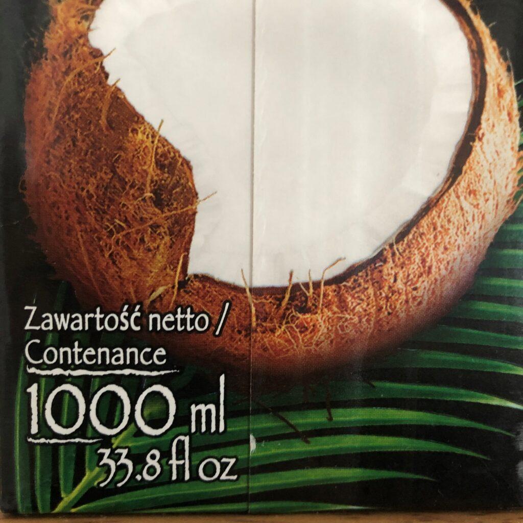 業務スーパーのココナツミルクのパッケージに記載されてる内容量1リットル表記