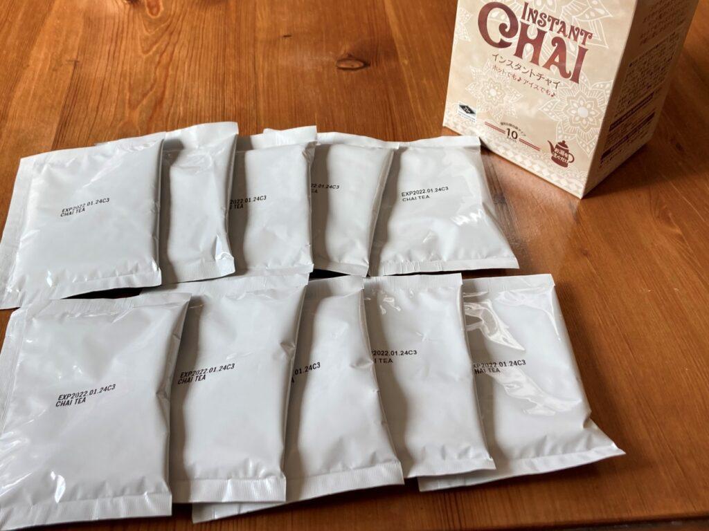 業務スーパーのインスタントチャイの箱から出した10個の小袋
